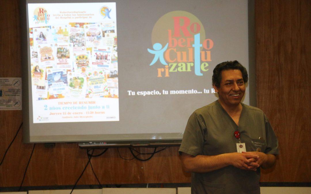 Después de 7 años RobertoCulturizarte se despide con diaporama sobre la historia del Hospital y con alta presencia de funcionarios